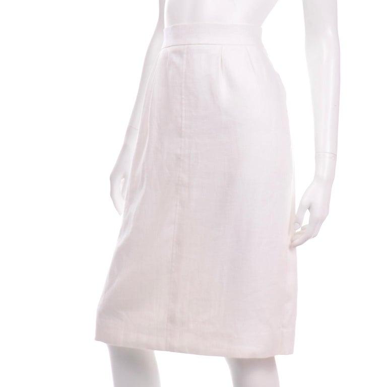 Women's Yves Saint Laurent Vintage White Linen Pencil Skirt For Sale