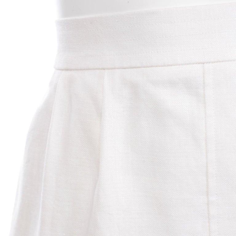 Yves Saint Laurent Vintage White Linen Pencil Skirt For Sale 1