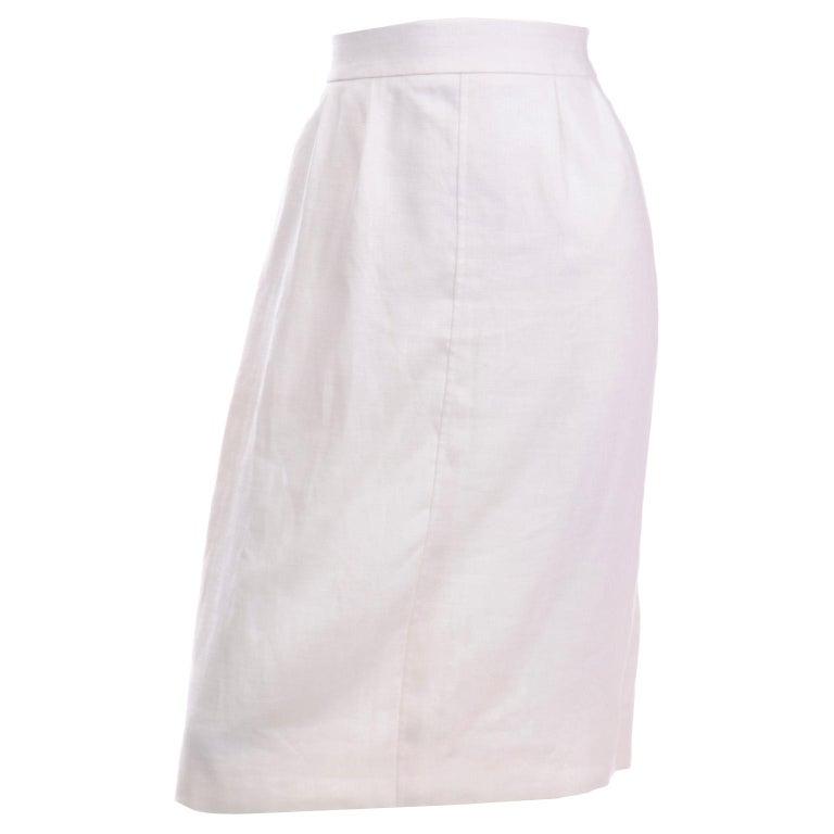 Yves Saint Laurent Vintage White Linen Pencil Skirt For Sale