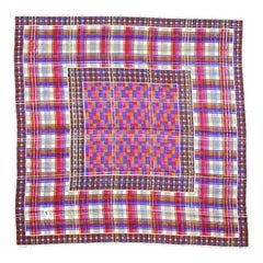 Yves Saint Laurent Vintage Wool Challis & Silk Checkered Plaid Pattern Scarf