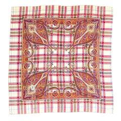 Yves Saint Laurent Vintage Wool Challis & Silk Plaid & Paisley Patterned Scarf