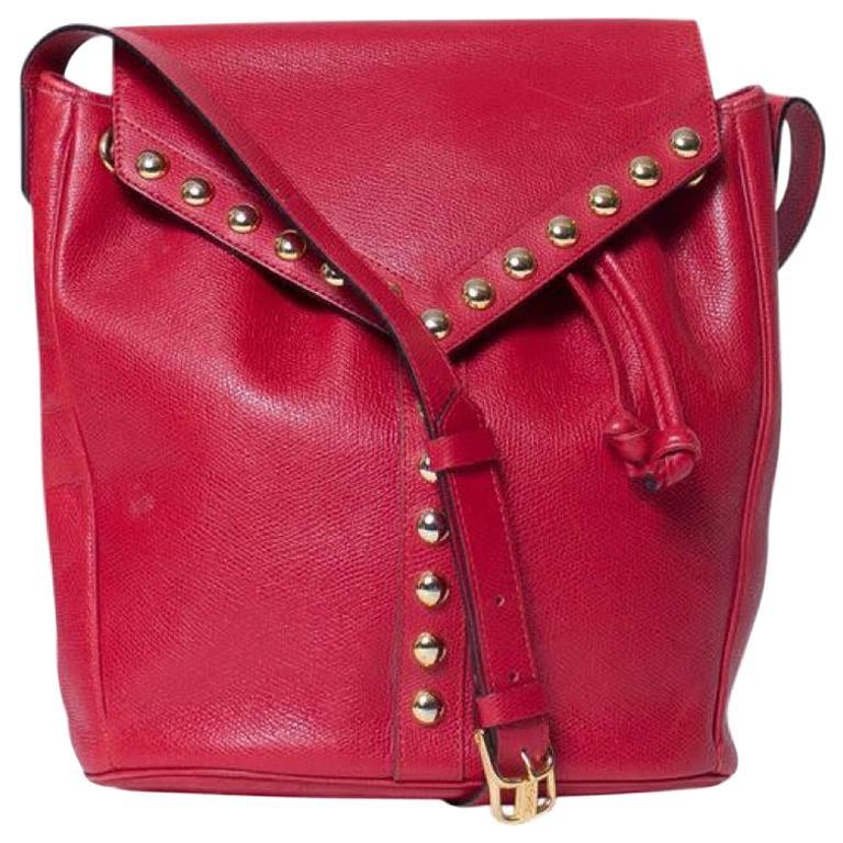 Yves Saint Laurent Vintage Y Studs Bucket Flap Bag - Red For Sale