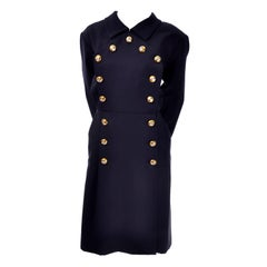 Yves Saint Laurent Vintage YSL Dress Navy Crystal Buttons Saks Fifth Avenue