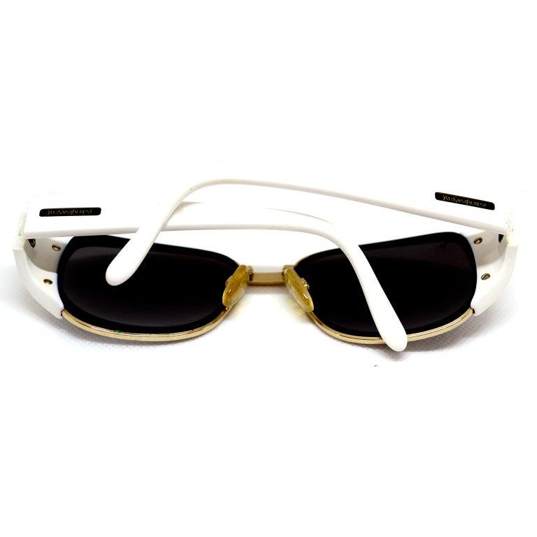 Yves Saint Laurent White And Gold Eyewear Frames Vintage