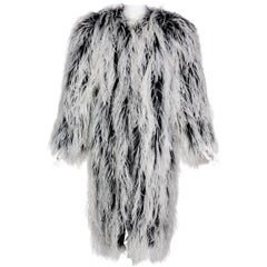 Yves Saint Laurent White Black Ostrich Feather Coat YSL Rare Documented 1960s