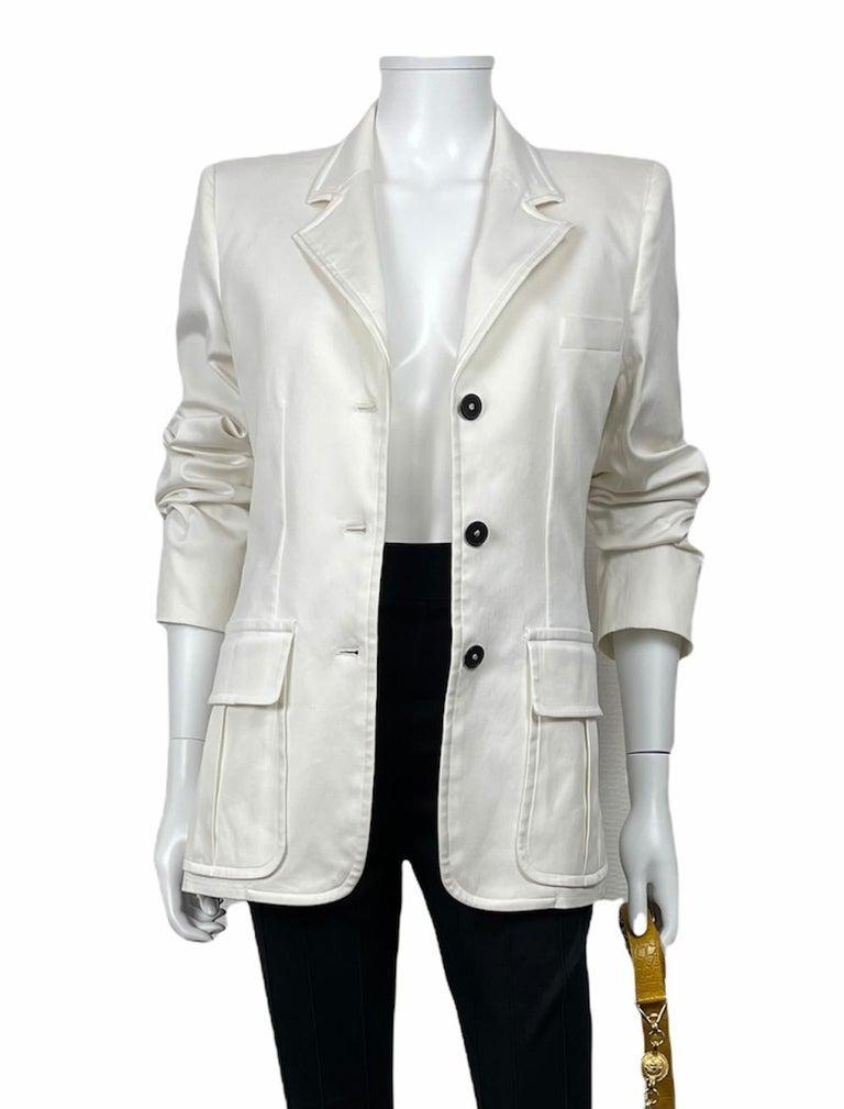 Yves Saint Laurent White Cotton Classic Jacket  For Sale