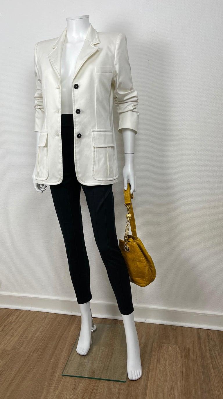 Gray Yves Saint Laurent White Cotton Classic Jacket  For Sale