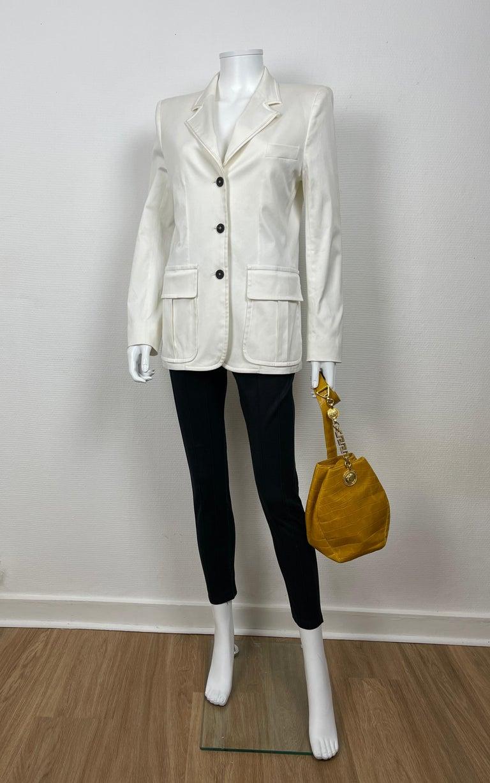 Women's or Men's Yves Saint Laurent White Cotton Classic Jacket  For Sale