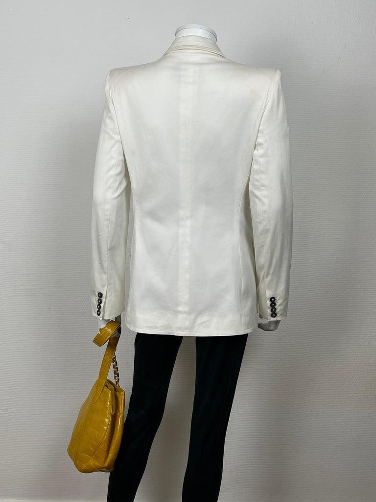 Yves Saint Laurent White Cotton Classic Jacket  For Sale 1