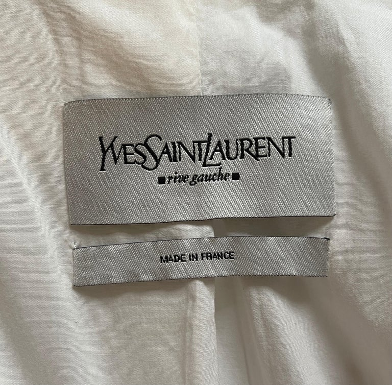 Yves Saint Laurent White Cotton Classic Jacket  For Sale 2