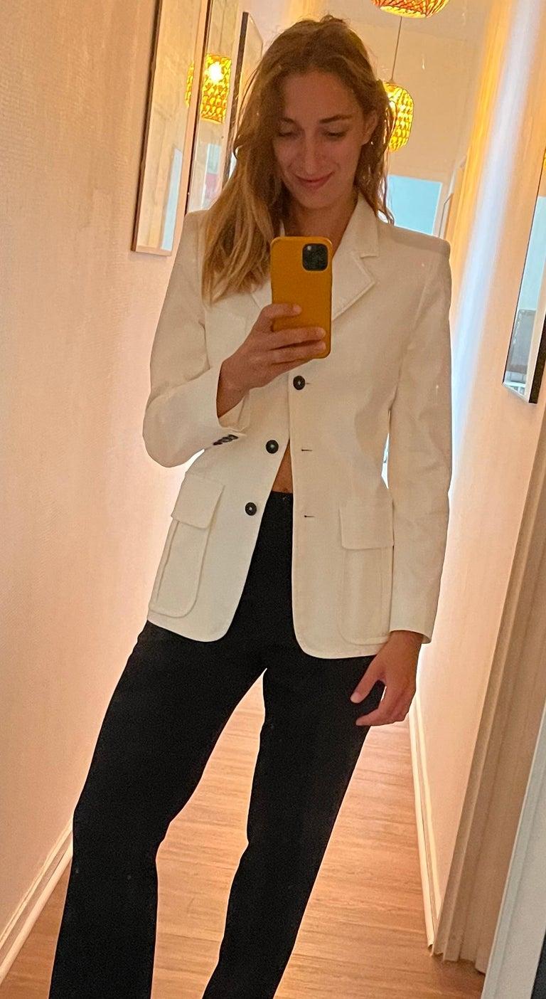 Yves Saint Laurent White Cotton Classic Jacket  For Sale 4