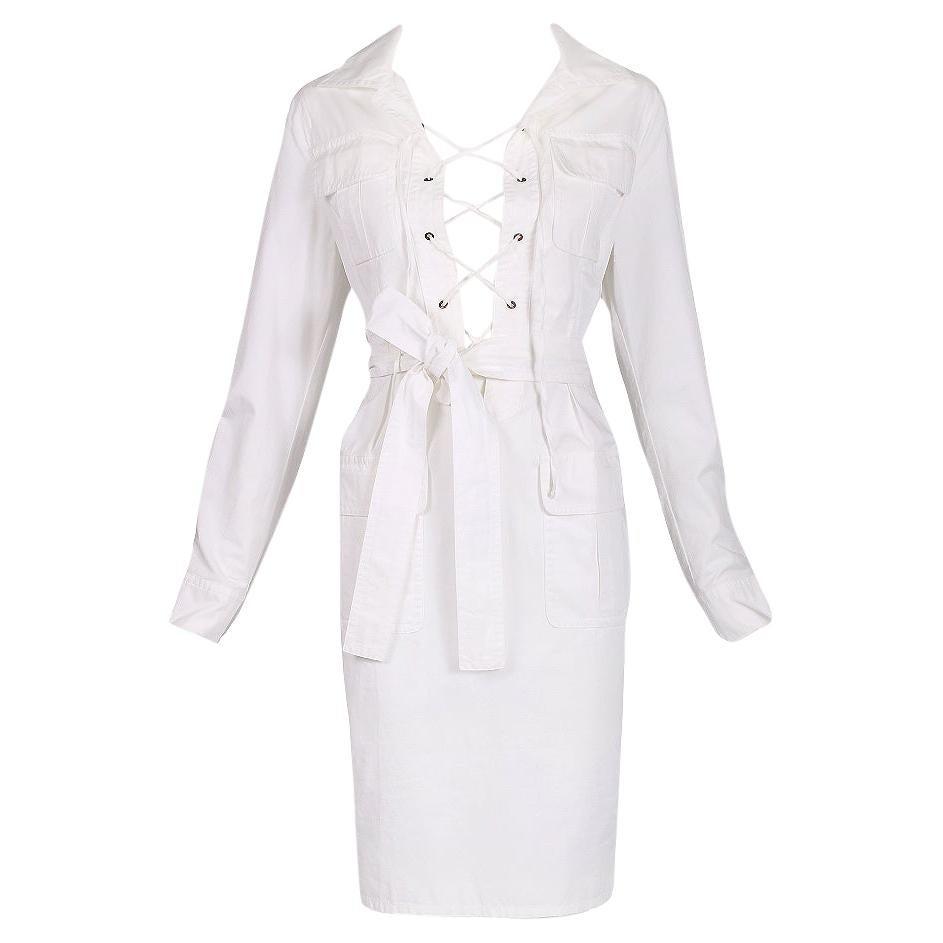 Yves Saint Laurent White Cotton Safari Dress
