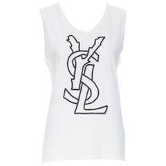 YVES SAINT LAURENT white cotton YSL logo embroidery sleeveless tank top FR42