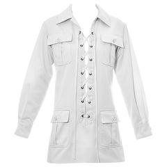 Yves Saint Laurent white gabardine cotton safari mini dress, c. 1968