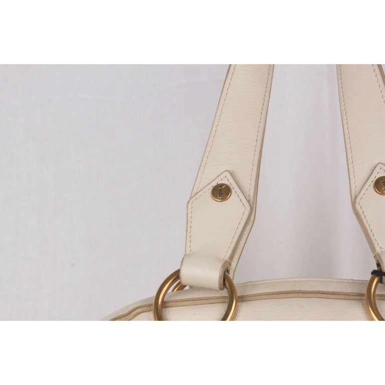 Yves Saint Laurent White Leather Muse Bag Tote For Sale At