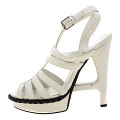 Yves Saint Laurent White Leather Strappy Platform Sandals Size 38