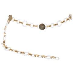 Yves Saint Laurent Goldringe weiße Lucite Gürtel Halskette YSL, 1970er Jahre