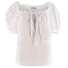 Yves Saint Laurent White Of The Shoulder Blouse - Estimated Size S