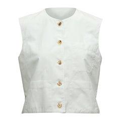 Yves Saint Laurent White Sleeveless Top