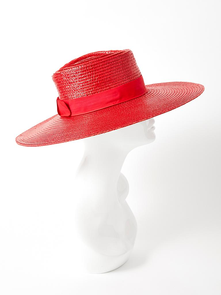 Red Yves Saint Laurent Wide Brim Straw Hat For Sale
