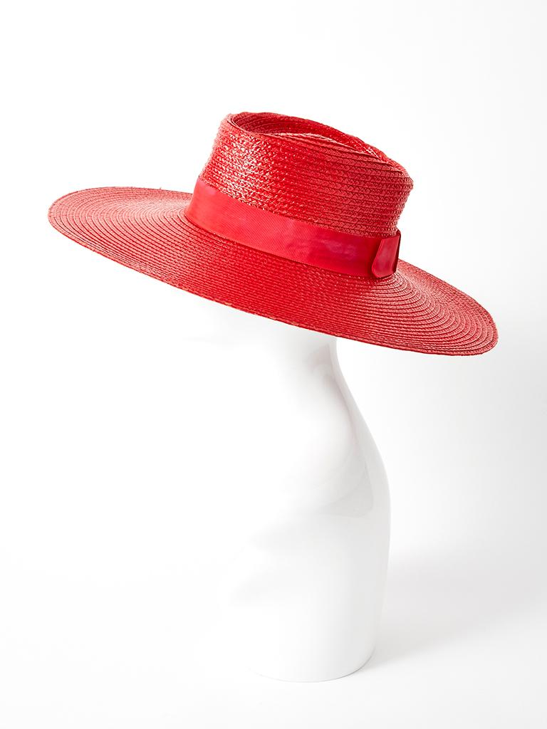 Yves Saint Laurent Wide Brim Straw Hat In Good Condition For Sale In New York, NY