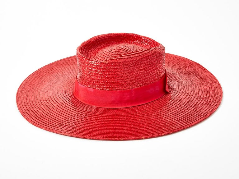 Women's Yves Saint Laurent Wide Brim Straw Hat For Sale