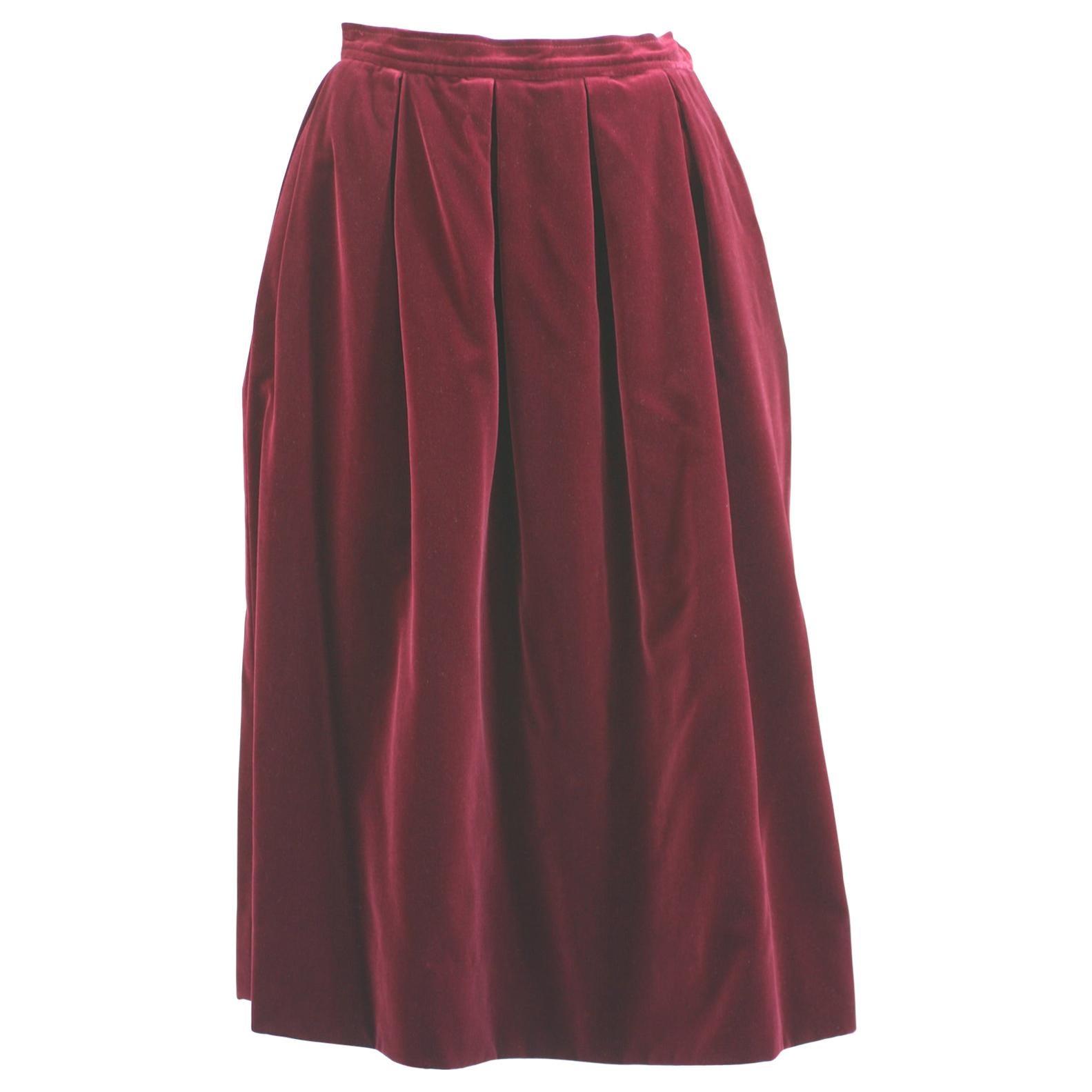 Yves Saint Laurent Wine Velvet Skirt