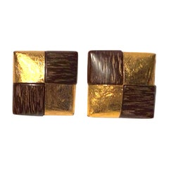 Yves Saint Laurent Wood & Gold Earrings