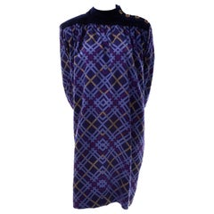 Yves Saint Laurent Wool and Velvet Fall Winter Vintage Plaid Dress
