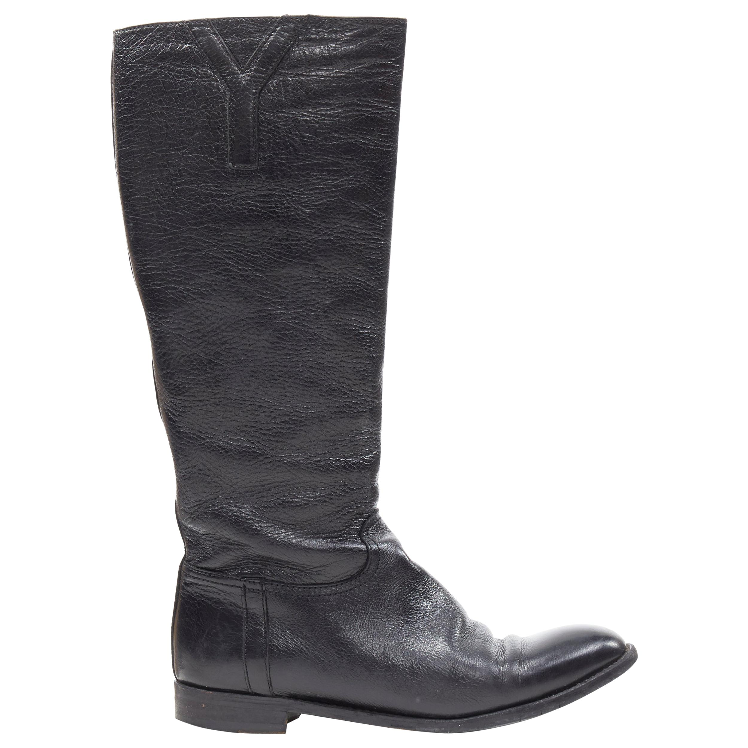 YVES SAINT LAURENT Y logo almond toe black pebble leather flat tall boots EU38.5