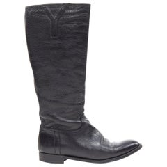 YVES SAINT LAURENT Y logo almond toe black pebble leather flat tall boots EU38.5