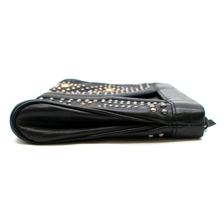 Black Yves Saint Laurent Y Rock leather clutch For Sale