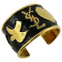 Yves Saint Laurent Ycons Enamel Logo Cuff Bracelet
