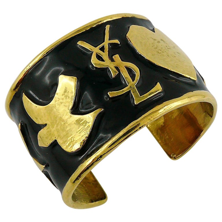 4f18669445c Yves Saint Laurent Ycons Enamel Logo Cuff Bracelet For Sale at 1stdibs