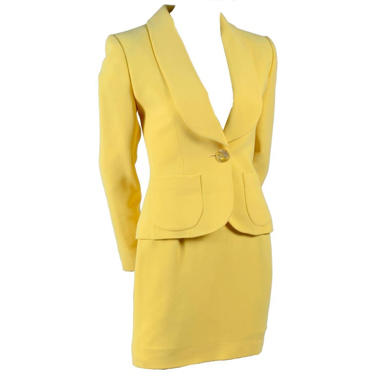 Yves Saint Laurent YSL Yellow Jacket and Mini Skirt Suit, Spring / Summer 1998