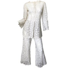 Yves Saint Laurent YSL 1970s Rare Ivory Belgium Lace 70s Tunic and Flared Pants
