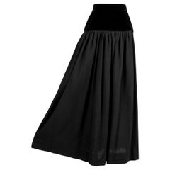 YVES SAINT LAURENT YSL 1976-77 Russian Collection Black Wool & Velvet Skirt