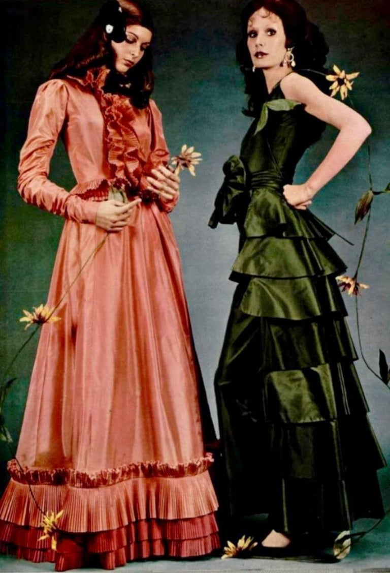 Yves Saint Laurent YSL Green Silk Taffeta Blouse and Skirt Ensemble Gown, 1978  For Sale 5