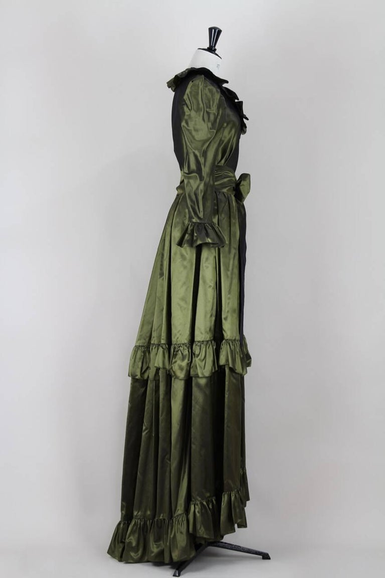 Black Yves Saint Laurent YSL Green Silk Taffeta Blouse and Skirt Ensemble Gown, 1978  For Sale