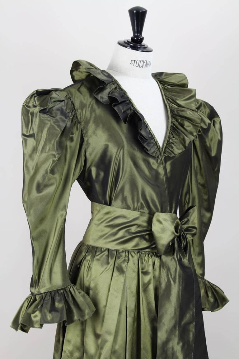 Women's Yves Saint Laurent YSL Green Silk Taffeta Blouse and Skirt Ensemble Gown, 1978  For Sale