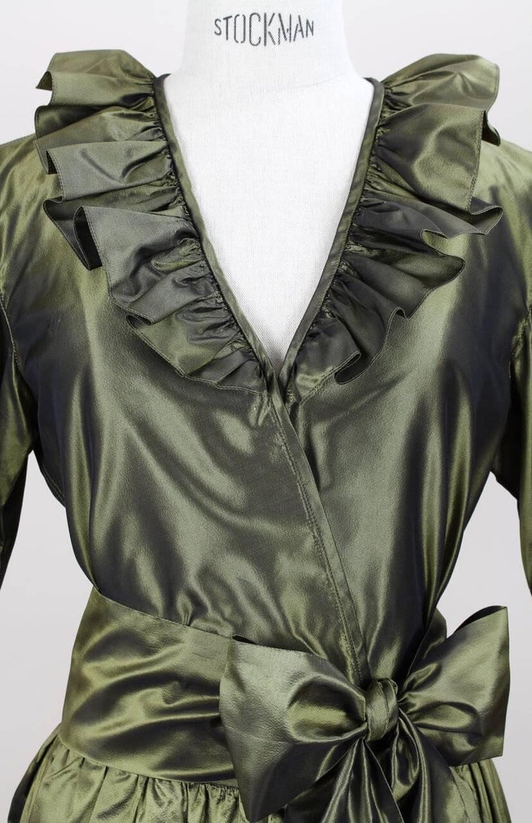 Yves Saint Laurent YSL Green Silk Taffeta Blouse and Skirt Ensemble Gown, 1978  For Sale 1