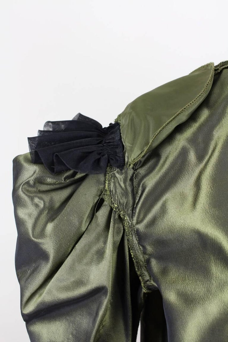 Yves Saint Laurent YSL Green Silk Taffeta Blouse and Skirt Ensemble Gown, 1978  For Sale 3