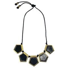 Yves Saint Laurent YSL 1980s Black Enamel & Gold Pendants on Cord Necklace