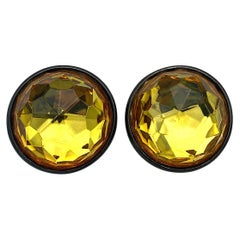 Yves Saint Laurent YSL 1980s Faceted Dome Large Button Earrings