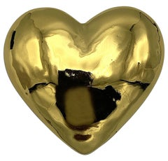 Yves Saint Laurent YSL 1980s Gold Heart Brooch