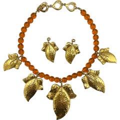 Yves Saint Laurent YSL 1980s Gold Leaves Necklace & Earrings