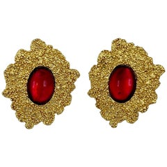 Yves Saint Laurent YSL 1980s Gold with Red Cabochon Earrings