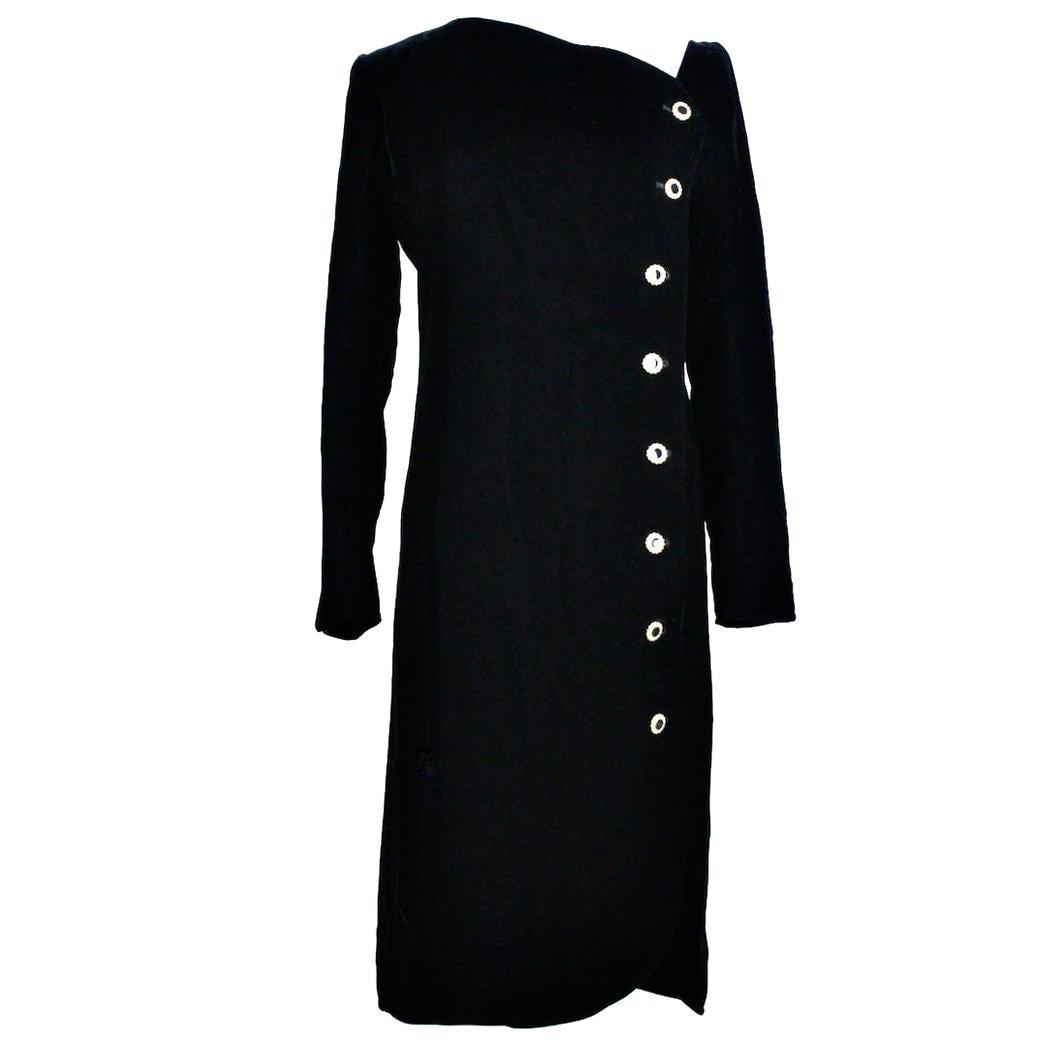 Yves Saint Laurent YSL 1980s Little Black Velvet Dress with Rhinestone Buttons