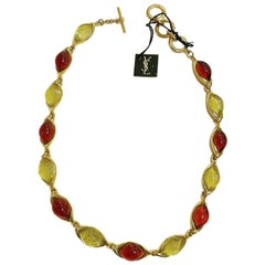 Yves Saint Laurent YSL 1980s Vintage Gilt and Glass Fashion Necklace Never Used