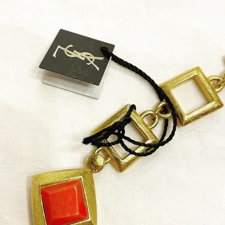 Retro Yves Saint Laurent YSL 1980s Vintage Gilt and Resin Fashion Never Used Necklace  For Sale